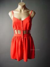 Orange Cage Strappy Cutout Exposed Midriff Top Shorts Playsuit 96 mv Romper XS/S