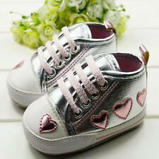Kid Toddler Baby Girl Cute Silver Crib Heart Shoes Walking Soft Sneaker 0-18 M