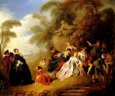THE PICNIC GARDEN WEALTH 1720 FRENCH PAINTING BY JEAN BAPTISTE PATER REPRO