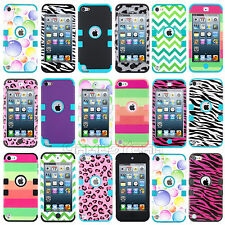 For iPod Touch 5th Gen Hard Hybrid Armor Rubber Black Case Combo Soft Cover
