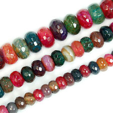 "Faceted Colorful Tourmaline Agate Rondelle Beads 15.5""6mm 8mm 10mm"