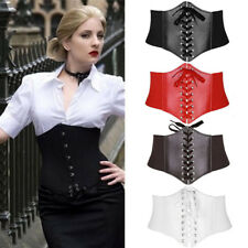 Sexy Womens Elastic Tied Waspie Belt Waist Cincher Corset Black Wide Band