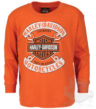 Harley-Davidson Boys Youth B&S with Wrenches Orange Long Sleeve T-Shirt