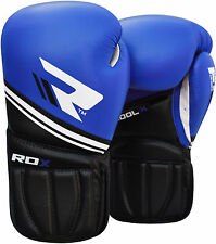 Auth RDX Leather Gel Boxing Gloves Fight,Punch Bag MMA Muay Thai Grappling OS