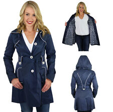 Jessica Simpson Women's Navy Trench Rain Coat Jacket Hooded