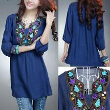 Vintage Gypsy Ethnic Floral EMBROIDERED Hippie Blouse DRESS Women Casual Tops