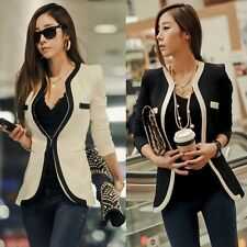 New Fashion Womens Coat Slim Ladies Blazer One Button Jacket Suit White Black