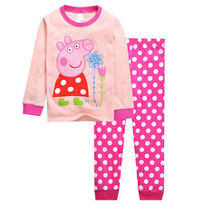 Peppa Pig Girls Toddler Pajamas Set Costume Sleepwear T-shirt Tops+Trousers 2-7Y