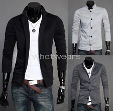 Fashion Mens Slim Fit Two-Buckle Casual Pure Color Knitting Suit W2057 DUK