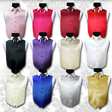 Special Occasion Boy's Plain Satin Finish Wedding Waistcoat - Size 2 - 14 Years