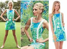 $198 Lilly Pulitzer Liz Limeade Roar Of The Jungle Lace Detail Shift Dress