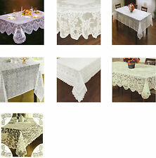 Lace Polyester Fabric Tablecloth Scalloped Edges