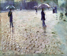 STUDY PARIS STREET RAINY DAY 1877 IMPRESSIONIST PAINTING BY CAILLEBOTTE REPRO