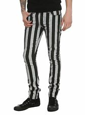 RUDE DESIGNED BY LIP SERVICE  BLACK AND WHITE STRIPE MEN SKINNY JEANS LENGHT 32