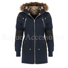 Quilted PU Sleeve Leopard Fur Hood Military Parka Jacket Winter Coat Size  Women