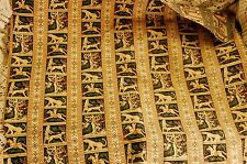 Vintage Tapestry Style Upholstery Fabric Brown Green HORSE Medieval Forest Scene