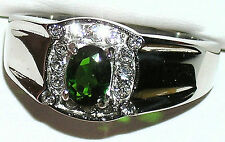 Men's Gorgeous Russian Chrome Diopside & Topaz Stainless Steel Ring # 353TK