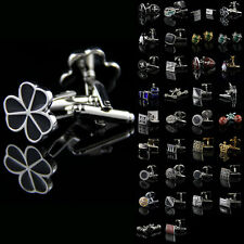 Lot Vintage Stainless Steel Golden Silver Crystal Wedding Party Mens Cufflinks
