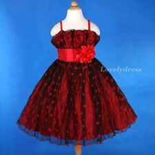 NEW Flower Girl Wedding Pageant Party Bridesmaid Dress Wears Set Red SZ 4-9 Q477