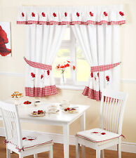 RED POPPY Kitchen Curtains with Gingham in Red & White – Ready Made Taped Top