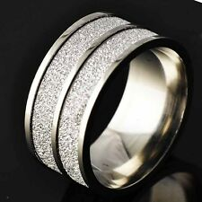 Sandy Unisex White Gold -F Stainless Steel Band Ring Size 8-11# D2687-D2690
