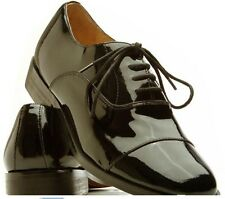 Frederico Leone Oxford Captoe Black Patent Leather Lace-Up Tuxedo Shoe