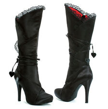 "Black Satin Boots Knee High Corset Lacing Zipper 4"" Heel Gothic 5-10 400-GOTHIKA"
