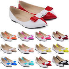 WOMENS FAUX LEATHER PATENT FLATS DOLLY BALLET PUMPS BOW TIE SHOES US SIZE 4 - 11