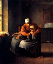 THE KNITTING LESSON MOTHER TEACHING DAUGHTER RURAL 1858 PAINTING BY MILLET REPRO