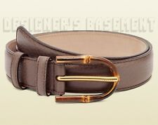 GUCCI mauve Brown pebbled Leather BAMBOO logo engraved Buckle belt NWT Authentic