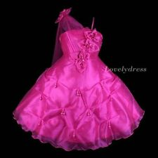 NEW Flower Girl Wedding Pageant Party Bridesmaid Dress Wears Fuchsia SZ 5-9 Q590