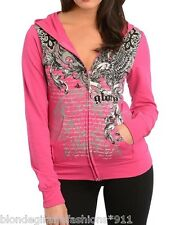 Fuchsia 'Glory' Fleur/Eagle/Scroll w/ Rhinestone Zip Front Hooded/Hoodie #407-F
