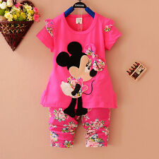 Adorable Baby Girls Minnie Mouse Hot Pink  Cotton 2 Piece Floral Outfit .Set