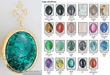Large oval locket, gemstone & glass cabochons, metal connectors, necklace option