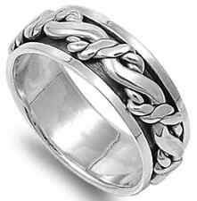 925 Sterling Silver Rope Knot Design Infinity Love SPINNER Band Ring Size 8-15