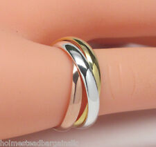 Tri Color 3 Band Trinity Rolling Ring .925 Sterling Silver Rose Gold Size 6 - 9