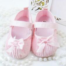 2 Colors Baby Infant Toddler Bowknot Shoes Girls Solid Ruffle Ribbon Shoes JUh