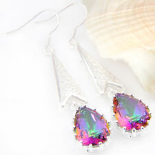 """Exquisite Nice-looking Rainbow Colored Topaz Gemstone Silver Earrings 2 1/4"""""""