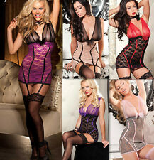 Plus Size Sexy Womens Lace Lingerie Chemise Babydoll Sleepwear+G-String+Garters