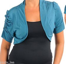 Teal/Blue Ruched Short Sleeve Cropped Bolero/Shrug Cover-Up Plus 1X/2X/3X