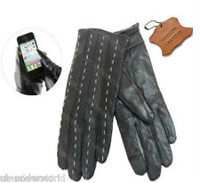 WOMENS BLACK GENUINE LEATHER TOUCH SCREEN THERMAL INSULATED FLEECE LINED GLOVES