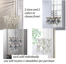 French garden chic hanging shabby jewel Chandelier floral flower candle holder