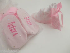 BNWT Baby girls socks with voile gift bag in white & pink  0-6 months