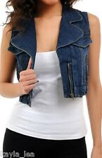 Western Blue Denim Zipper Embellished Cropped Vest M