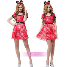 Sexy Disney Minnie Mickey Mouse Cosplay Halloween Costumes Fancy Dress Up Outfit