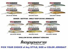 Koppers Live Target Jerkbaits Deep or Shallow Bass Walleye Any Color Size Shiner