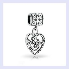 STR Silver Grandma Dangle Heart Pendant Flower Bead for European Charm Bracelet