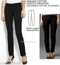$178 Eileen Fisher Black Organic Cotton Stretch Tricotine Tapered Ankle Pants 8