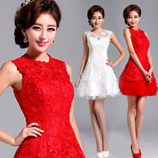 Evening Prom Party Dress Wedding Bridesmaid Dress Short Skirt Lace Flowers Y147L