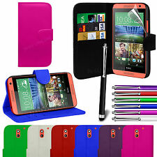 PU Leather Flip Wallet Book Case Cover, Film & Pen For HTC Desire 610